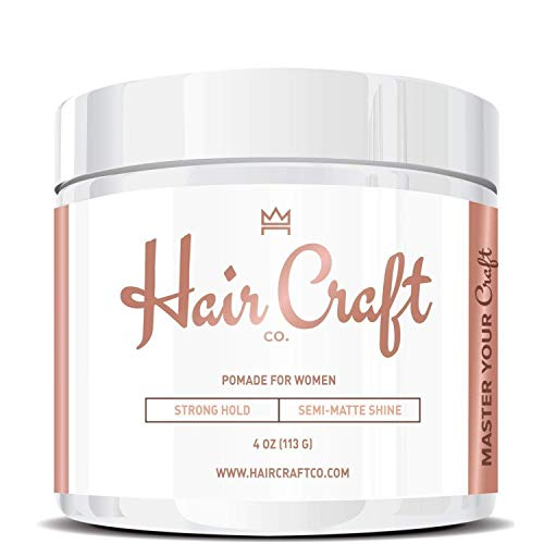 Hair Craft Co. Women's Pomade 4oz - Best Semi-Matte Finish Shine - Strong Hold Gel – Styling Product, Salon Approved - Water Based/Soluble - Defining Texture & Scented - Straight/Thick/Wavy Hair