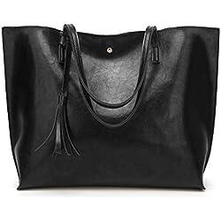 Women's Soft Leather Tote Shoulder Bag from Dreubea, Big Capacity Tassel Handbag Black (New Style)