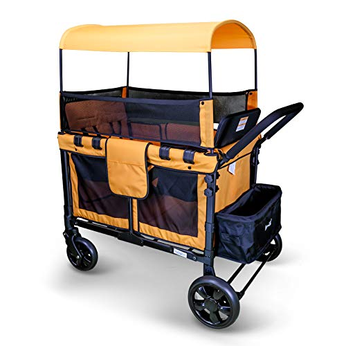 WonderFold Baby Multi-Function Four Passenger Wagon Folding Quad Stroller with Removable Reversible Canopy & Seats up to 4 Toddlers, Orange