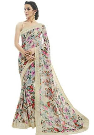 Shangrila Designer Women's Georgette Saree with Blouse Piece (KAMINI6-9327, Pastel Cream)