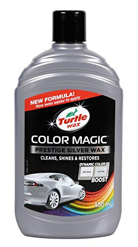 Turtle Wax Color Magic 52710 Car Polish Cleans Shines Restores Scratches - Prestige Silver Wax 500ml