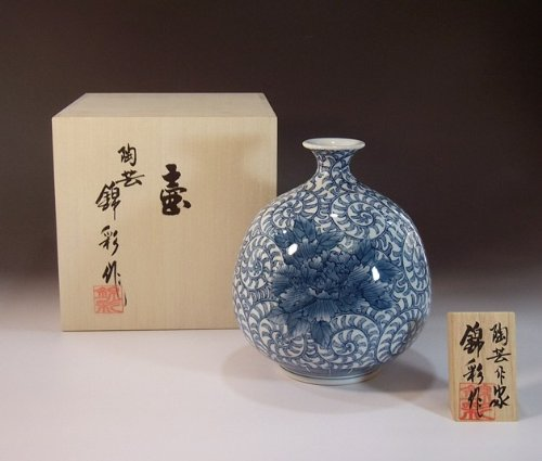 Luxury pottery vase , decorative vases of porcelain - Imari | Gifts | gifts | souvenir | gift | Sometsuke arabesque Fujii NishikiAya