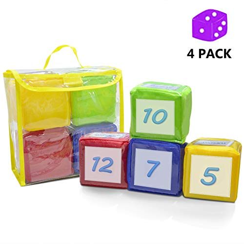 Eamay Playing Game Dice Soft Foam Cubes, Set of 4 Learn Pocket Cubes, Ages 5 Months and Up.