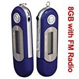 Ecloud ShopUS Blue 8GB 8G USB Flash Drive LCD Mini MP3 Player w/FM Radio