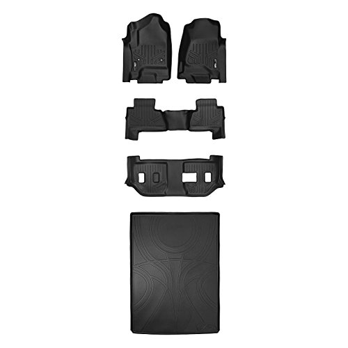 SMARTLINER Floor Mats 3 Rows and Cargo Liner Behind 2nd Row Set Black for 2015-2018 Suburban / Yukon XL (with 2nd Row Bench Seat)