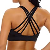 nine bull Women's Removable Padded Sports Bras High Impact Support Fitness Racerback Workout Yoga Bra M (Black)