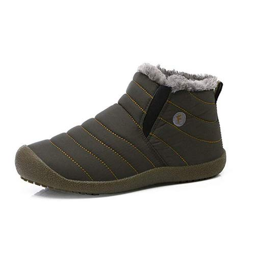 aeepd Winter Snow Boots Slip on Ankle Bootie Men Women Water-Resistant Anti-Slip Fur Lined Shoes Grey