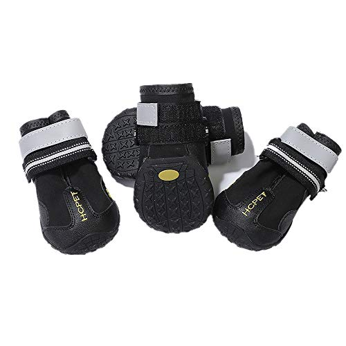 Praised Dog Boots Waterproof Shoes,Reflective Fastening Straps and Rugged Anti-Slip Sole,Dog Booties,Dog Shoes Perfect for Small Medium Large Dogs,Dog Snow Boots 4PCS(Size6:3.07''x3.23'')