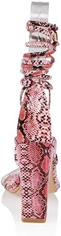 JSUN7 Women's Fashion Lace Wrap Open Round Toe Summer Chunky Block Elegant Heel Sandal Pump Shoe 4