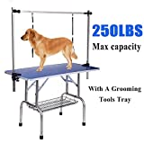 Gelinzon Pet Grooming Table for Large Dogs Adjustable Height -Portable Trimming Table Drying Table w/Arm/Noose/Mesh Tray Maximum Capacity Up to 220-300Lb Blue 46'x 24'