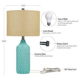 Catalina-Lighting-19970-000-Modern-Ceramic-Table-Lamp-with-Burlap-Shade-for-Living-Family-Room-Bedroom-Dorm-Office-265-Classic-Aqua-Blue