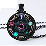 Wiccan Pendant Necklace Constellations of The Zodiac Wicca Pagan Jewelry Glass cabochon Jewelry