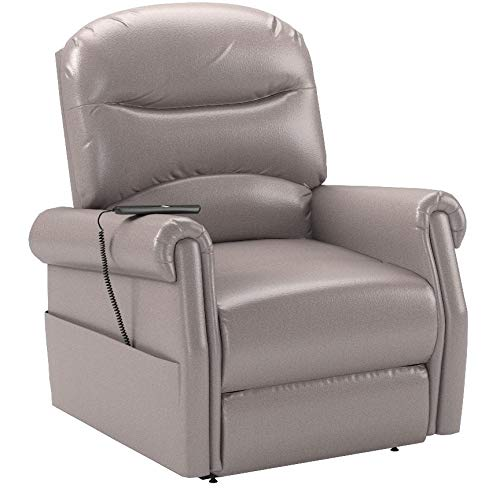 Divano Roma Furniture - Classic Plush Bonded Leather Power Lift Recliner Living Room Chair (Grey)