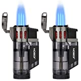 Torch Lighter, Cigar Lighter, Triple Jet Flame Torch Lighters, Windproof Butane Refillable Gas Torch Lighters with a Gift Box, 2 Pack (Sold Without Gas)