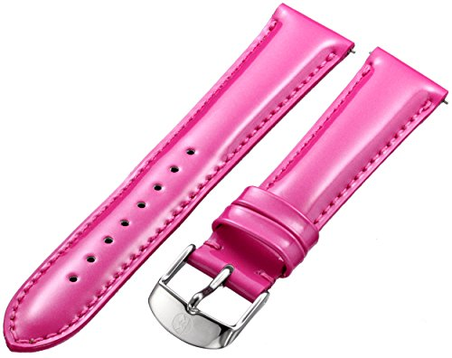 Watch strap in pink leather interchangeable with any MICHELE 18mm watch head Stainless steel buckle with logo engraving