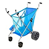 Seina Collapsible All-Terrain Beach Cart with Big Wheels for Sand | Beach Caddy/Stroller For Hauling Beach stuff Items Accessories Equipment, for transport, foldable/collapsable, 2-Cup Holders | Blue