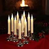 Set of 10 Flameless LED Ivory Taper Window Candles with 5 hr Automatic Daily Timer, Removable Silver Candle Stands, Remote Control and 20 AA Batteries Included