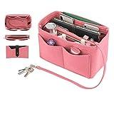 Purse Insert, Bridawn Felt Handbag Organizer Tote Shaper with Keys Chain for LV Speedy, Neverfull, Longchamp, Pink, L