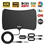 130 Miles Range Digital TV Antenna Indoor TV Antenna,Bqeel HDTV Antenna with Amplifier Signal Booster Supports 4K 1080P UHF VHF Free View Local HDTV Channels All Types Television, 12ft Coax Cable