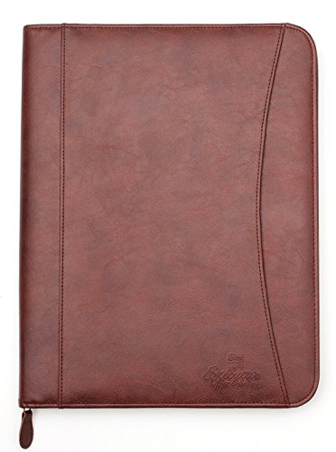 Professional Executive PU Leather Business Resume Portfolio Padfolio Organizer with iPad Mini or Tablet Sleeve Holder, Zipper, Paper Pad, Card Holders, Pen Holder, Document Folder - Brown