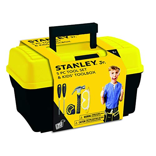 Stanley Jr.. - Tool Box and 5 pcs Set of Tools, Tool Set Ages 5+ (TBS001-05-SY), Mixed
