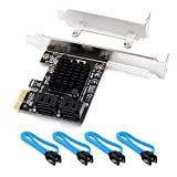 QNINE SATA Card 4 Port with 4 SATA Cables, 6 Gbps SATA Controller PCI Express Expression Card with Low Profile Bracket, Boot as System Disk, Support 4 SATA 3.0 Devices