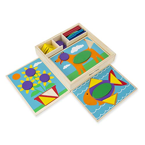 Melissa & Doug Beginner Wooden Pattern Blocks Educational Toy (5 Double-Sided Scenes and 30 Shapes, Great Gift for Girls and Boys - Best for 3, 4, and 5 Year Olds)