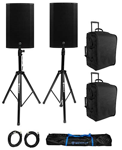 (2) Mackie Thump15A THUMP-15A 15' 1300 Watt Powered DJ PA Speakers+Bags+Stands