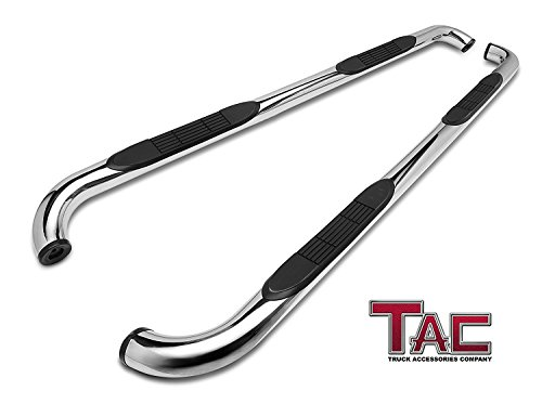 TAC Side Steps Fit Chevy Silverado/GMC Sierra 1999-2018 1500 & 1999-2019 2500/3500 Extended/Double Cab (Excl. C/K Classic) 3' Stainless Steel Side Bars Nerf Bars Step Rails Running Boards 2 Pieces