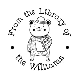 New Year Gift from The Library of Teacher Stamp-Personalised Cute Little Bear and Book Pattern Design Rubber Stamp-Round Diameter 1.65inch/42mm Lable 1pc