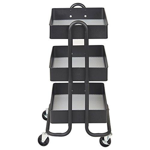 ECR4Kids 3-Tier Metal Rolling Utility Cart – Heavy Duty Mobile Storage Organizer, Black deal 50% off 41sVU8XQFNL