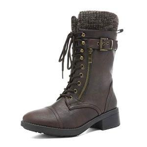DREAM PAIRS Women's Mid Calf Combat Riding Boots