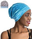 Slap Night Cap Sleep Hat Beanie - Blue Women Organic Bamboo Satin Silk Lined Bonnet Summer Scarf Hair Cover for Women Lady Lightweight Light Thin Jersey Chemo Christmas Santa Day Gifts for Women