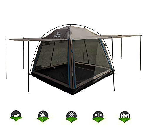 Hasika All-Weather Diversified 8 x 8 Instant Screened Canopy 4-Person Camping Tents-Brown(not Include Outside Poles)