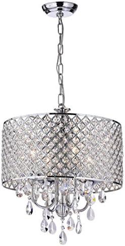 Edvivi Marya 4-Light Chrome Round Crystal Chandelier Ceiling Fixture | Beaded Drum Shade | Glam Lighting 3
