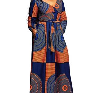 VERWIN African Print V Neck High Waist Color Block Evening Dress Wrap Maxi Dress