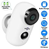 [32GB Preinstalled] 1080P Battery Powered Outdoor Camera,Wireless Home Security Camera,Two-Way Audio,App Remote,IP65 Waterproof,Night Vision,Rechargeable Batteries,2.4GHz WiFi,6 Months PIR Record