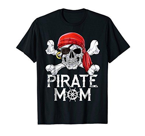 Pirate Mom T shirt Jolly Roger Skull & Crossbones Flag Tees