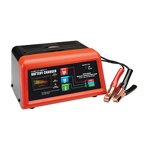 Cen-Tech 60581 Manual Car Battery Charger with Engine Start, 10/2/50 Amp/12V