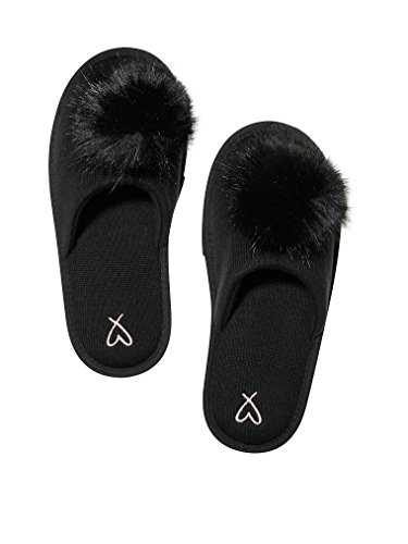 Victoria's Secret Pom Pom Pretty Slippers Black- Large 9/10