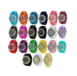 Geneva Women's 10 PCS Watches Crystal Wristwatch Set Silicone Jelly Band