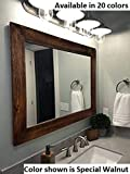 Shiplap Large Wood Framed Mirror Available in 4 Sizes and 20 Colors: Shown in Special Walnut Stain - Large Wall Mirror - Rustic Barnwood Style - Bathroom Vanity Mirror - Rustic Bathroom Decor