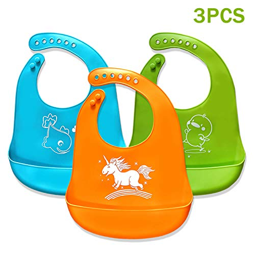 Baby Bibs,Silicone Bibs for Newborns Infant Toddlers,Comfortable Soft,Easily Wipes Clean,Baby Gifts,Set of 3 Colors (3pcs)