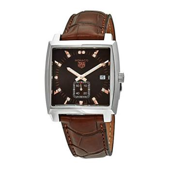 Tag Heuer Monaco Brown Diamond Dial Ladies Leather Watch WAW131E.FC6420