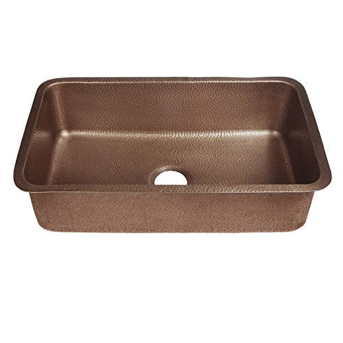 Sinkology SK202-30AC Transitional Orwell Undermount Handmade Solid Copper 30 In. Single Bowl Kitchen Sink In Antique Copper, 30-Inch, Hammered Antique Copper