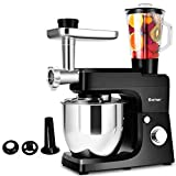 COSTWAY 3 In 1 Upgraded Stand Mixer with Stainless Steel Bowl Blender Meat Grinder Sausage Stuffer(BLACK)