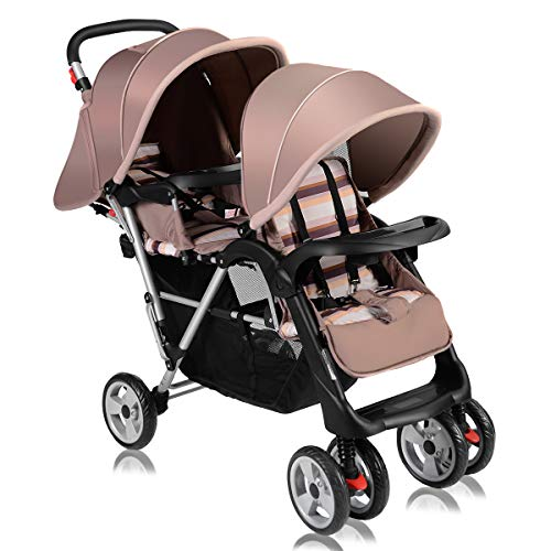 Costzon Double Stroller, Twin Tandem Baby Stroller with Adjustable Backrest, Footrest, 5 Points Safety Belts, Foldable Design for Easy Transportation (Grey)