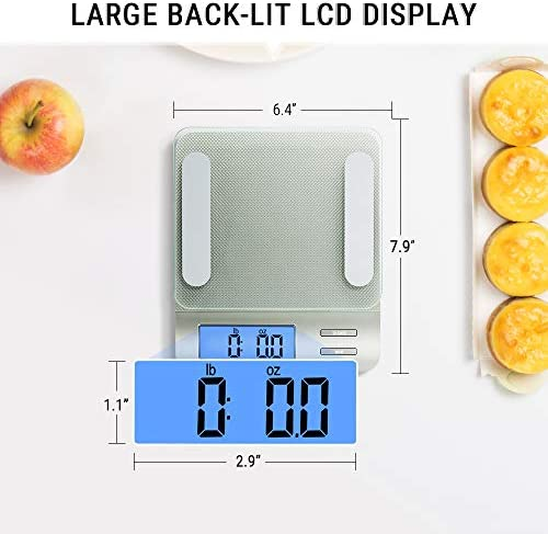 Accuweight 207 Digital Kitchen Multifunction Food Scale for Cooking with Large Back-lit LCD Display,Easy to Clean with Precision Measuring,Tempered Glass (Silver) 6