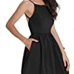FANCYINN Women's Black Short Dress Spaghetti Strap Backless Mini Skate Dress Black M
