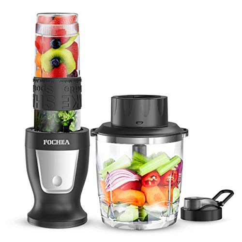 Smoothie Blender, Fochea 300W Professional Food Processor Multi-Function Kitchen System with 28 oz Chopper Bowl, 20 oz BPA-Free Travel Bottles